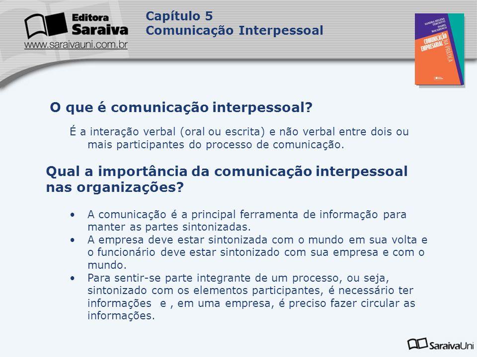 Capa da Obra Capítulo 5 Comunicação Interpessoal É a interação verbal (oral ou escrita) e não verbal entre dois ou mais participantes do processo de c