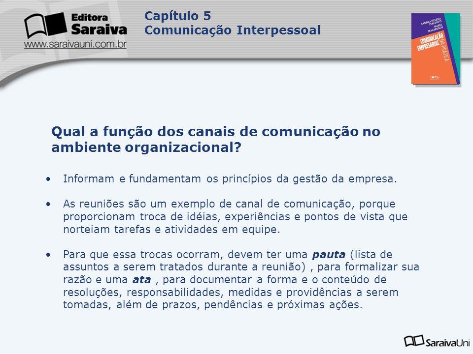 Capa da Obra Capítulo 5 Comunicação Interpessoal Informam e fundamentam os princípios da gestão da empresa. As reuniões são um exemplo de canal de com
