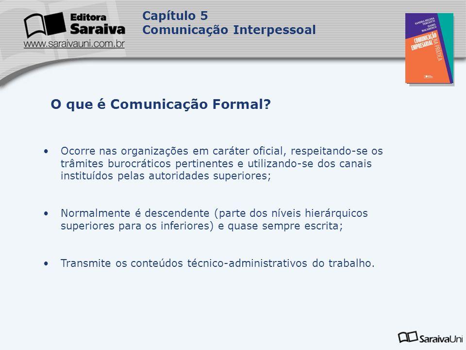 Capa da Obra Capítulo 5 Comunicação Interpessoal Ocorre nas organizações em caráter oficial, respeitando-se os trâmites burocráticos pertinentes e uti