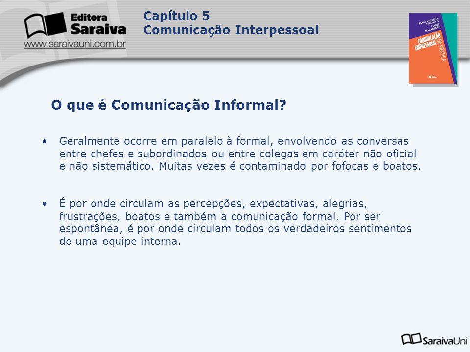 Capa da Obra Capítulo 5 Comunicação Interpessoal Geralmente ocorre em paralelo à formal, envolvendo as conversas entre chefes e subordinados ou entre colegas em caráter não oficial e não sistemático.