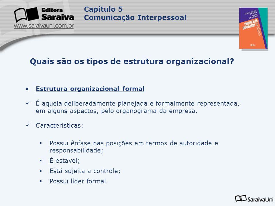 Capa da Obra Capítulo 5 Comunicação Interpessoal Estrutura organizacional formal É aquela deliberadamente planejada e formalmente representada, em alg