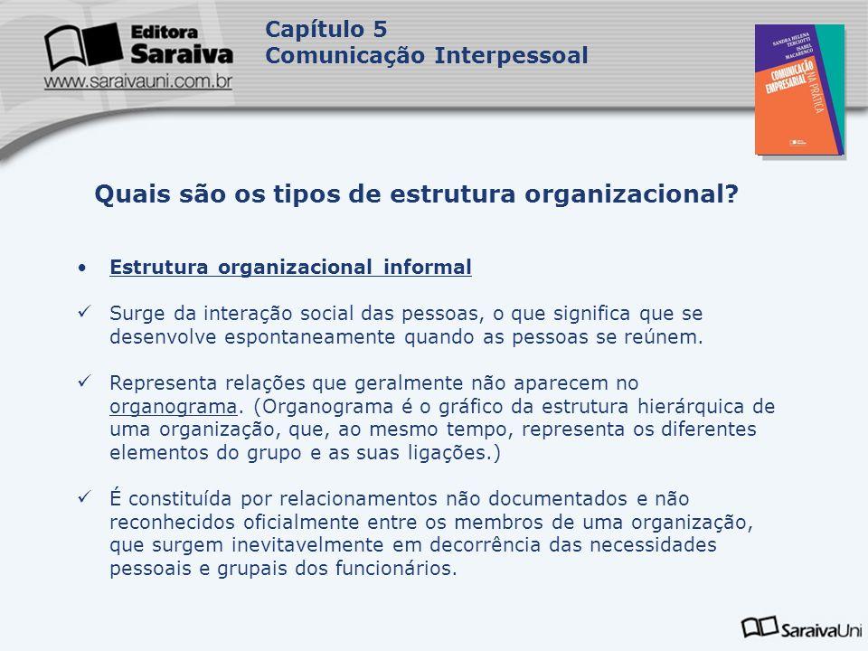 Capa da Obra Capítulo 5 Comunicação Interpessoal Estrutura organizacional informal Surge da interação social das pessoas, o que significa que se desenvolve espontaneamente quando as pessoas se reúnem.