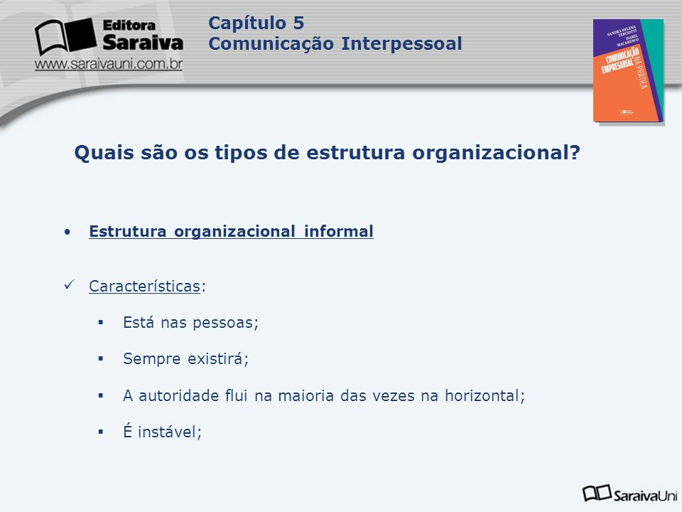 Capa da Obra Capítulo 5 Comunicação Interpessoal Estrutura organizacional informal Características: Está nas pessoas; Sempre existirá; A autoridade fl