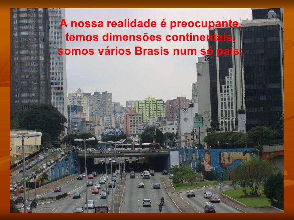 A nossa realidade é preocupante, temos dimensões continentais, somos vários Brasis num só país;