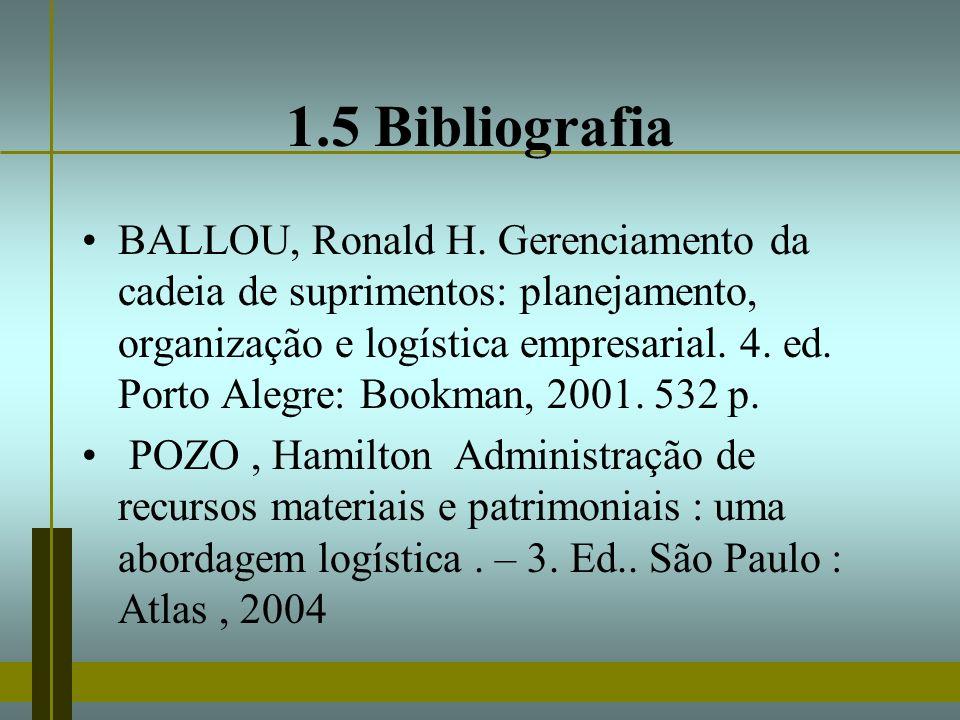 1.5 Bibliografia BALLOU, Ronald H. Gerenciamento da cadeia de suprimentos: planejamento, organização e logística empresarial. 4. ed. Porto Alegre: Boo