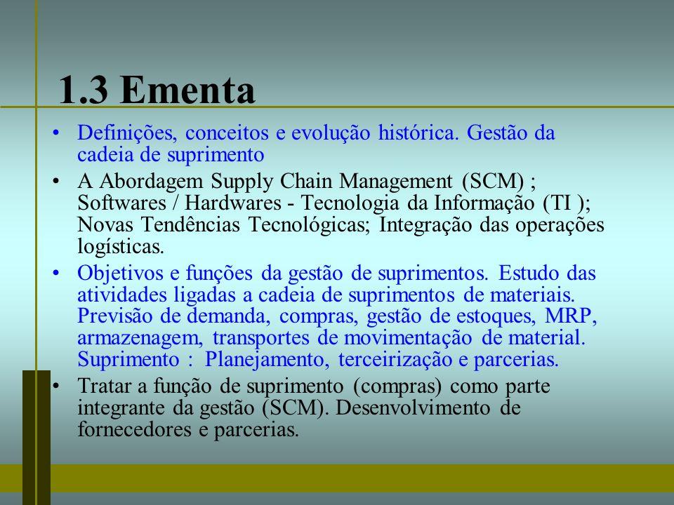 1.3 Ementa Definições, conceitos e evolução histórica. Gestão da cadeia de suprimento A Abordagem Supply Chain Management (SCM) ; Softwares / Hardware