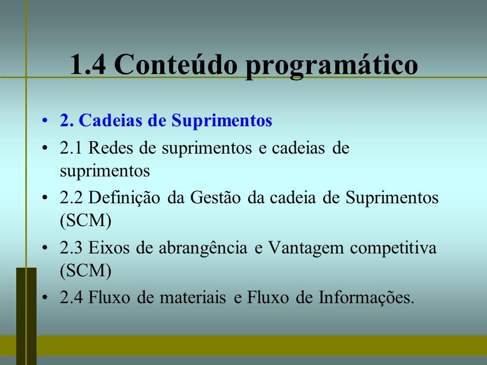 1.4 Conteúdo programático 2. Cadeias de Suprimentos 2.1 Redes de suprimentos e cadeias de suprimentos 2.2 Definição da Gestão da cadeia de Suprimentos