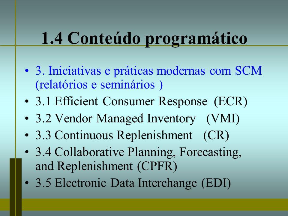 1.4 Conteúdo programático 3. Iniciativas e práticas modernas com SCM (relatórios e seminários ) 3.1 Efficient Consumer Response (ECR) 3.2 Vendor Manag