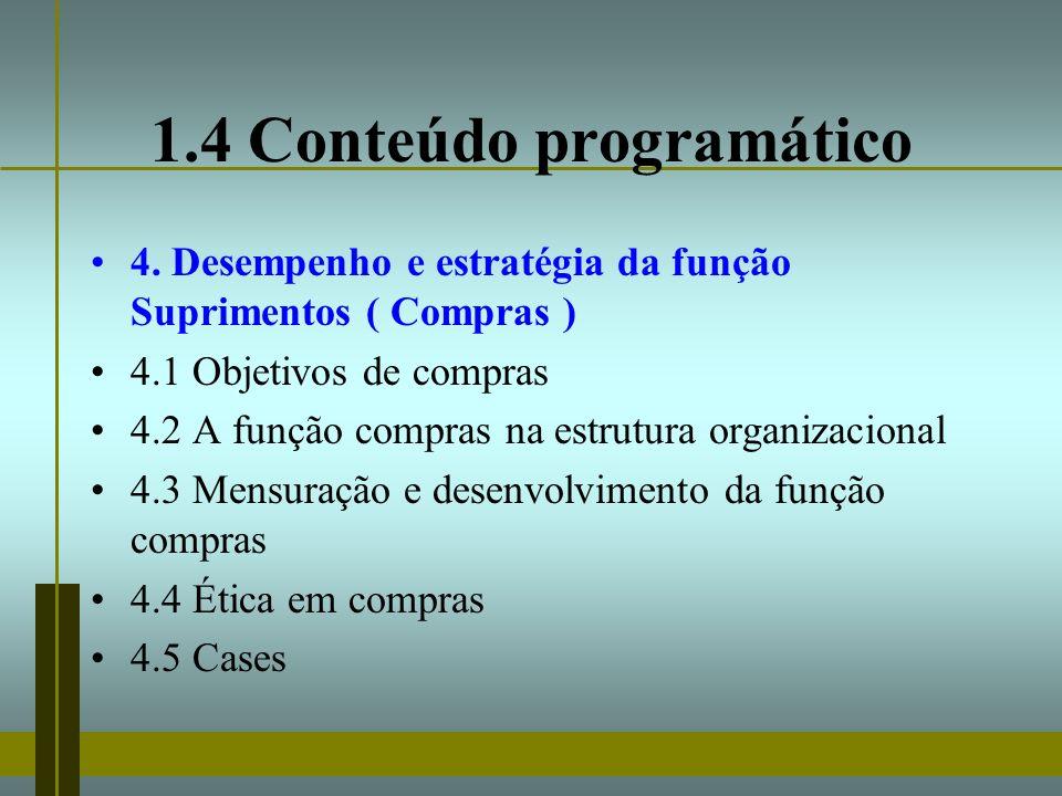 1.4 Conteúdo programático 4. Desempenho e estratégia da função Suprimentos ( Compras ) 4.1 Objetivos de compras 4.2 A função compras na estrutura orga