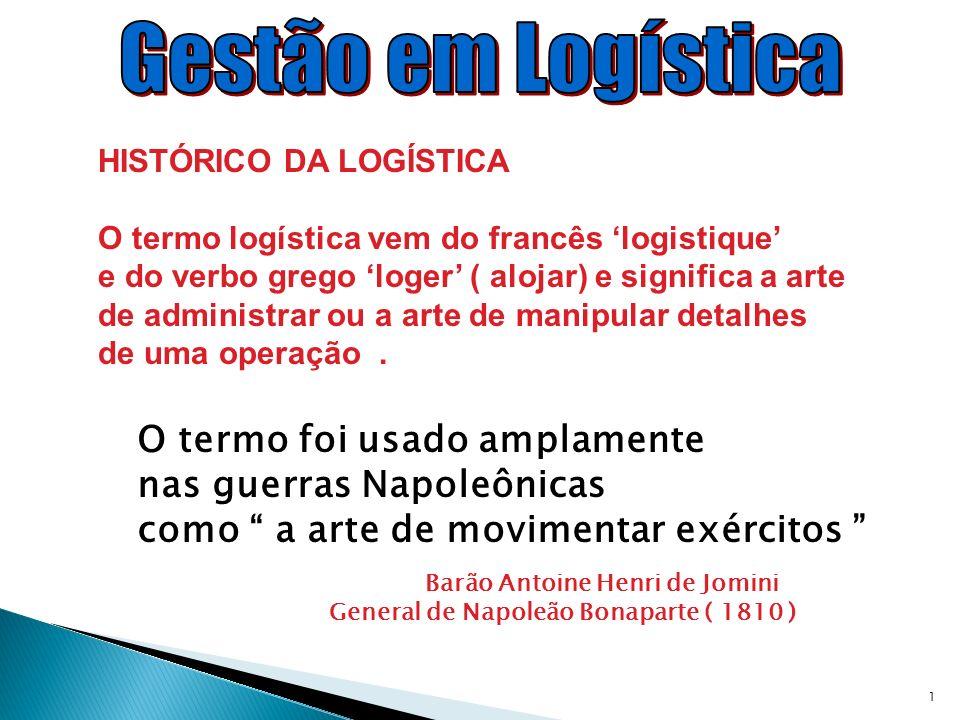 1 HISTÓRICO DA LOGÍSTICA O termo logística vem do francês logistique e do verbo grego loger ( alojar) e significa a arte de administrar ou a arte de m