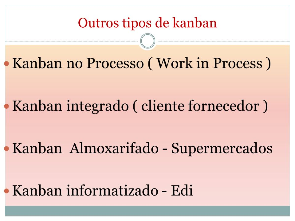 Outros tipos de kanban Kanban no Processo ( Work in Process ) Kanban integrado ( cliente fornecedor ) Kanban Almoxarifado - Supermercados Kanban infor