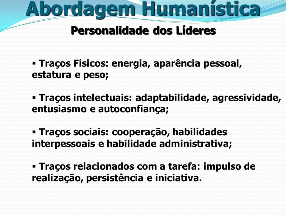 Personalidade dos Líderes Abordagem Humanística Traços Físicos: energia, aparência pessoal, estatura e peso; Traços intelectuais: adaptabilidade, agre