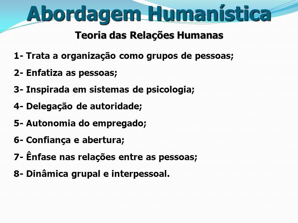 Teoria das Relações Humanas 1- Trata a organização como grupos de pessoas; 2- Enfatiza as pessoas; 3- Inspirada em sistemas de psicologia; 4- Delegaçã