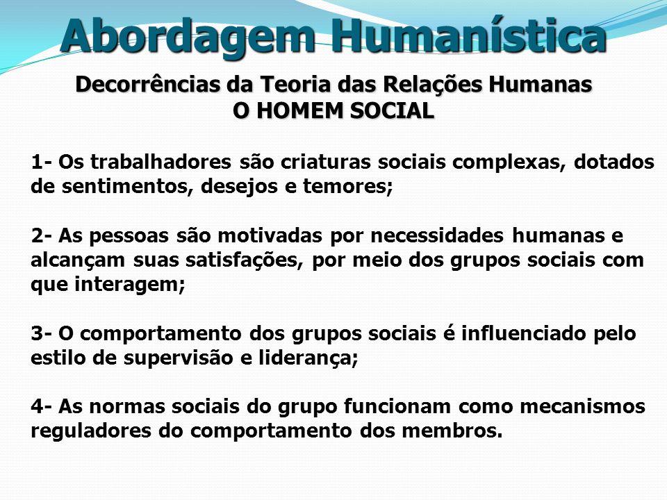 Decorrências da Teoria das Relações Humanas O HOMEM SOCIAL Abordagem Humanística 1- Os trabalhadores são criaturas sociais complexas, dotados de senti