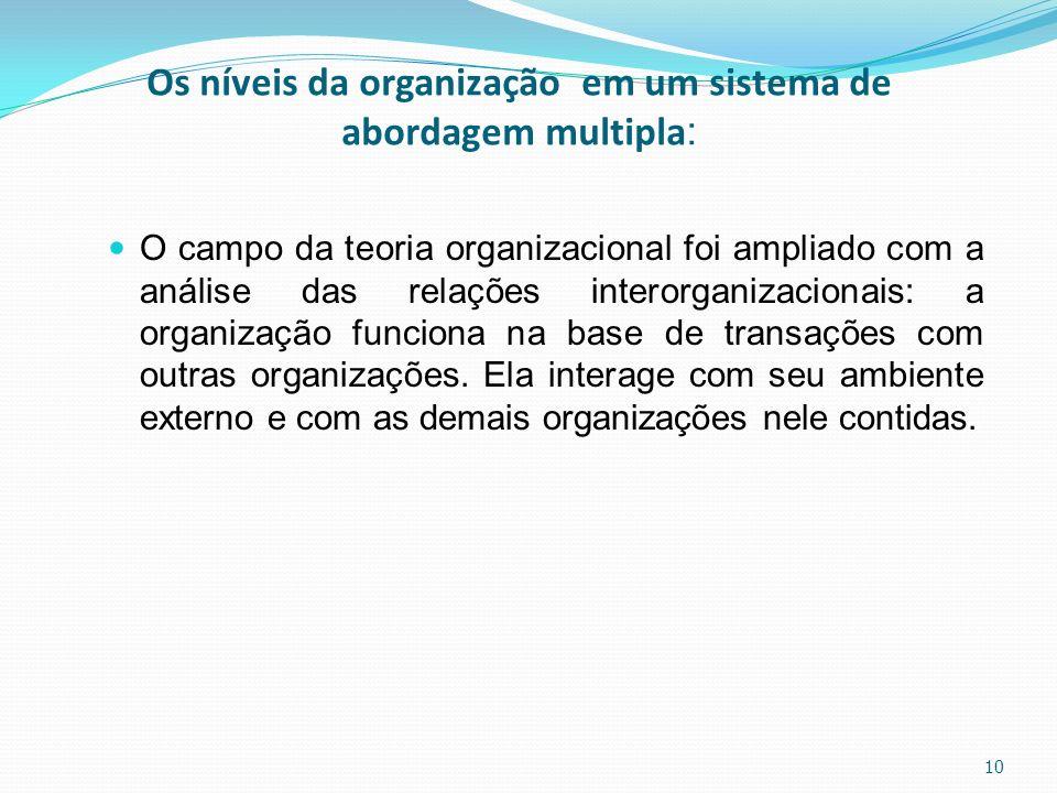 Os níveis da organização em um sistema de abordagem multipla : O campo da teoria organizacional foi ampliado com a análise das relações interorganizac
