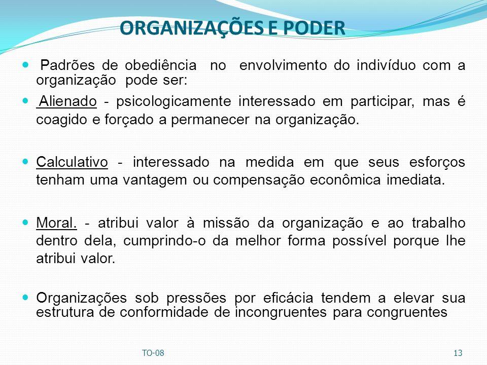 ORGANIZAÇÕES E PODER Padrões de obediência no envolvimento do indivíduo com a organização pode ser: Alienado - psicologicamente interessado em partici