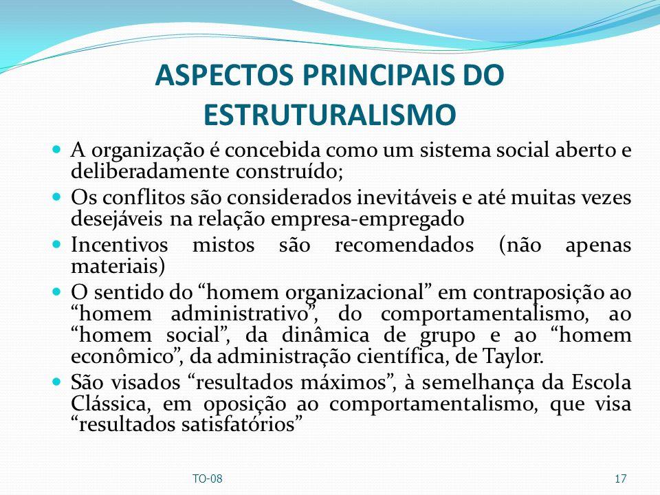 ASPECTOS PRINCIPAIS DO ESTRUTURALISMO A organização é concebida como um sistema social aberto e deliberadamente construído; Os conflitos são considera