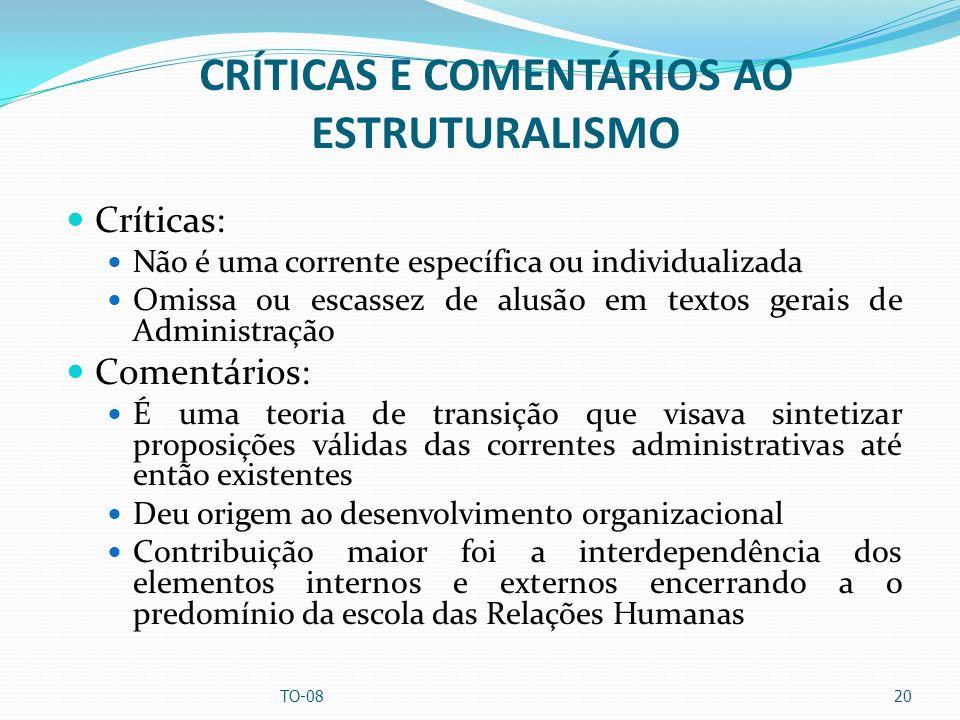CRÍTICAS E COMENTÁRIOS AO ESTRUTURALISMO Críticas: Não é uma corrente específica ou individualizada Omissa ou escassez de alusão em textos gerais de A