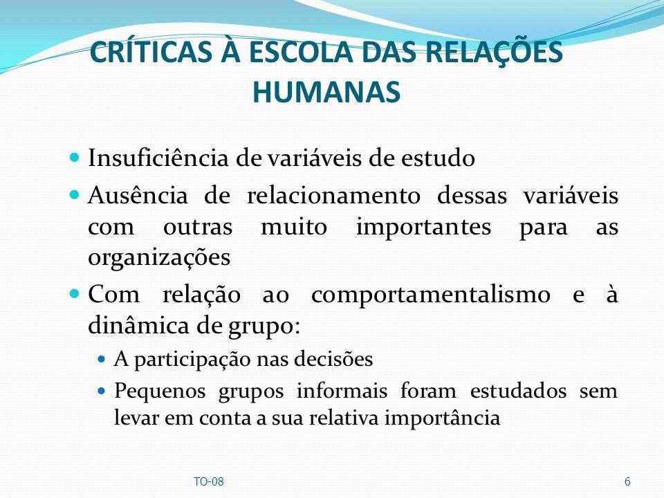 CRÍTICAS À ESCOLA DAS RELAÇÕES HUMANAS Insuficiência de variáveis de estudo Ausência de relacionamento dessas variáveis com outras muito importantes p