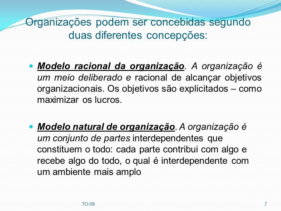 Organizações podem ser concebidas segundo duas diferentes concepções: Modelo racional da organização. A organização é um meio deliberado e racional de