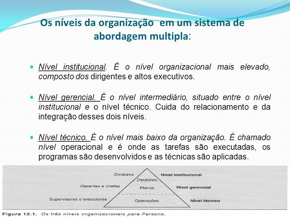 Os níveis da organização em um sistema de abordagem multipla : Nível institucional. É o nível organizacional mais elevado, composto dos dirigentes e a