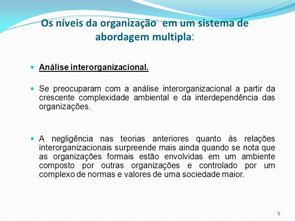Os níveis da organização em um sistema de abordagem multipla : Análise interorganizacional. Se preocuparam com a análise interorganizacional a partir