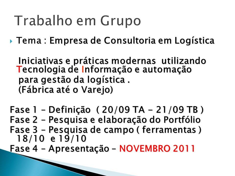 Empresa de Consultoria em Logística Tema : Empresa de Consultoria em Logística Iniciativas e práticas modernas utilizando Tecnologia de Informação e a