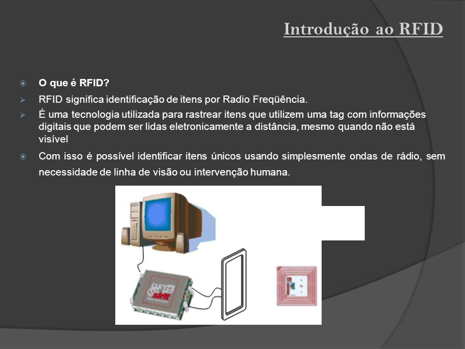O que é RFID? RFID significa identificação de itens por Radio Freqüência. É uma tecnologia utilizada para rastrear itens que utilizem uma tag com info