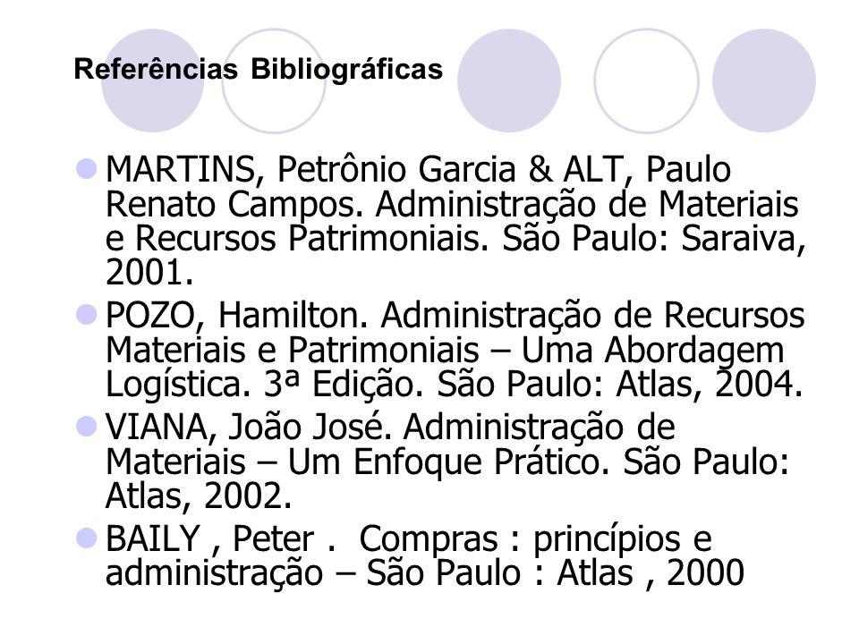 Referências Bibliográficas MARTINS, Petrônio Garcia & ALT, Paulo Renato Campos. Administração de Materiais e Recursos Patrimoniais. São Paulo: Saraiva