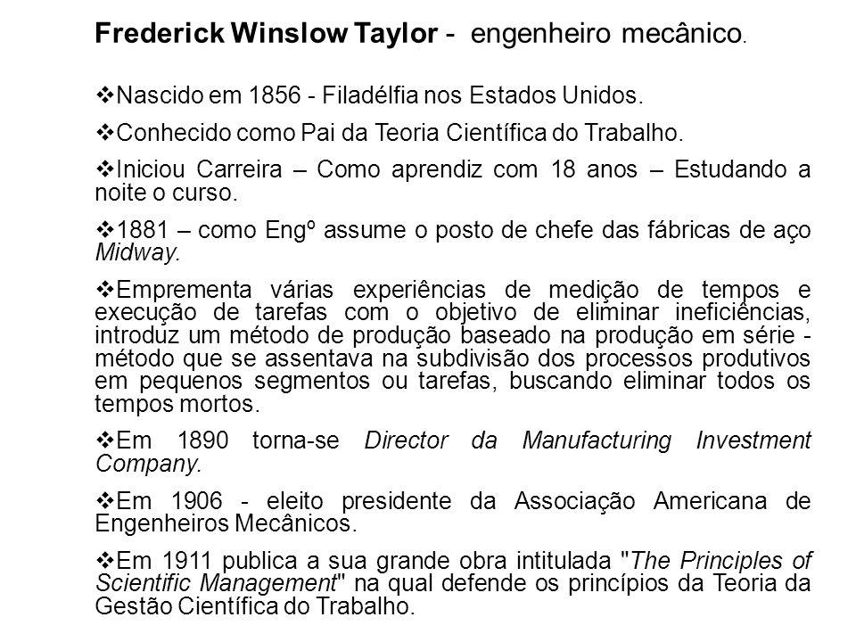 Frederick Winslow Taylor - engenheiro mecânico. Nascido em 1856 - Filadélfia nos Estados Unidos. Conhecido como Pai da Teoria Científica do Trabalho.