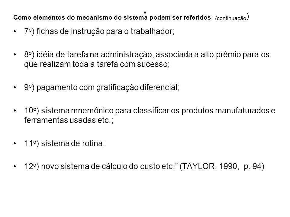 . Como elementos do mecanismo do sistema podem ser referidos: (continuação ) 7 o ) fichas de instrução para o trabalhador; 8 o ) idéia de tarefa na ad