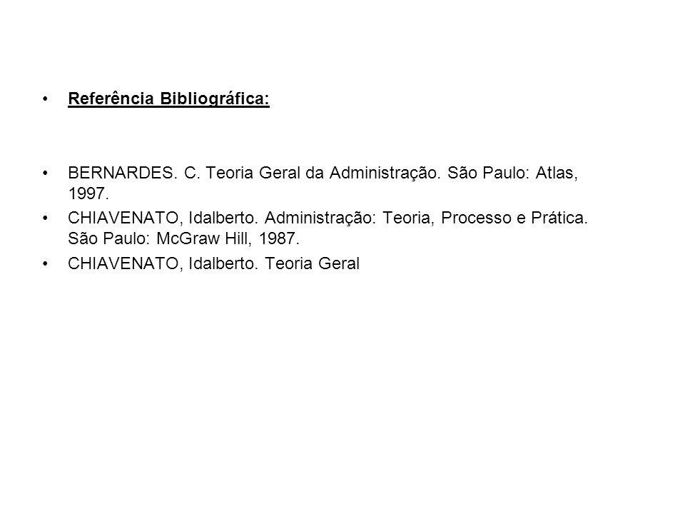 Referência Bibliográfica: BERNARDES. C. Teoria Geral da Administração. São Paulo: Atlas, 1997. CHIAVENATO, Idalberto. Administração: Teoria, Processo