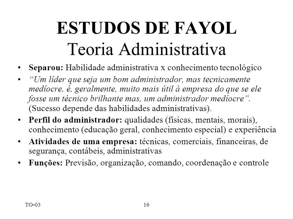TO-0316 ESTUDOS DE FAYOL Teoria Administrativa Separou: Habilidade administrativa x conhecimento tecnológico Um líder que seja um bom administrador, m