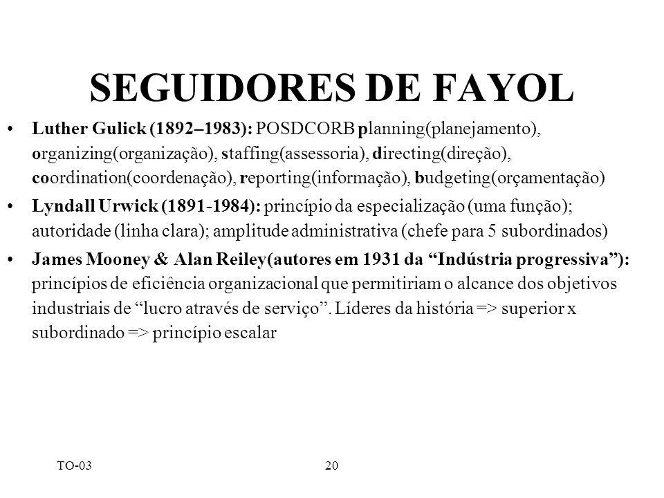 TO-0320 SEGUIDORES DE FAYOL Luther Gulick (1892–1983): POSDCORB planning(planejamento), organizing(organização), staffing(assessoria), directing(direç