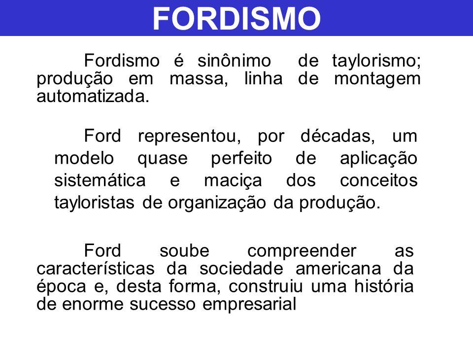 Ford representou, por décadas, um modelo quase perfeito de aplicação sistemática e maciça dos conceitos tayloristas de organização da produção. Fordis