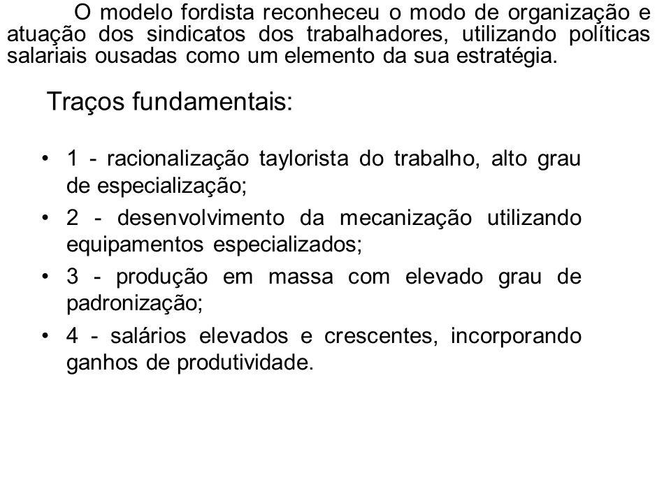 1 - racionalização taylorista do trabalho, alto grau de especialização; 2 - desenvolvimento da mecanização utilizando equipamentos especializados; 3 -