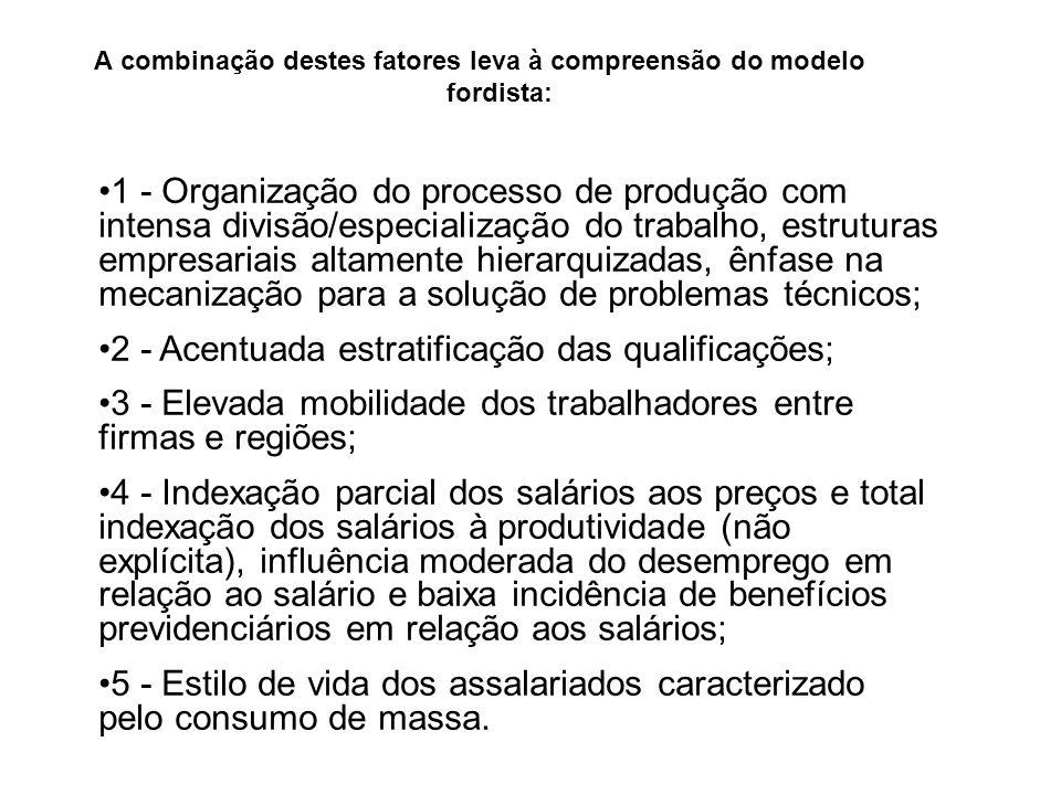 A combinação destes fatores leva à compreensão do modelo fordista: 1 - Organização do processo de produção com intensa divisão/especialização do traba