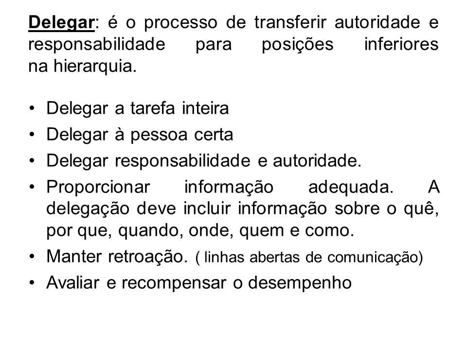 Delegar: é o processo de transferir autoridade e responsabilidade para posições inferiores na hierarquia. Delegar a tarefa inteira Delegar à pessoa ce