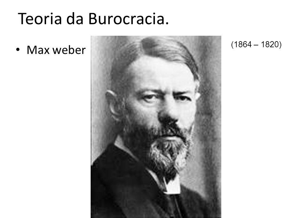 Teoria da Burocracia. Max weber (1864 – 1820)