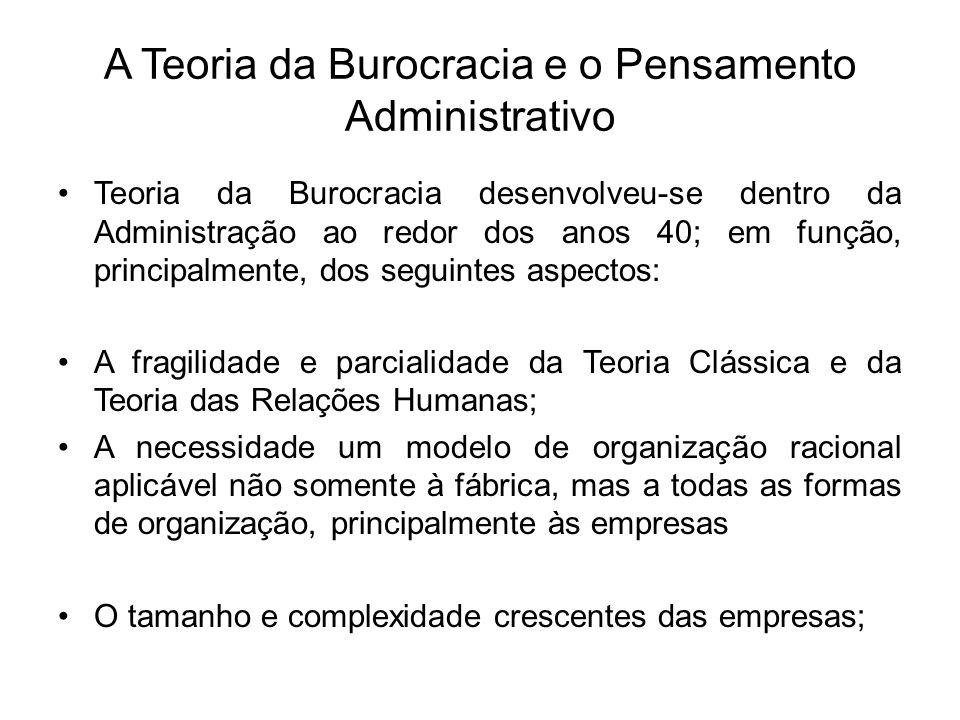A Teoria da Burocracia e o Pensamento Administrativo Teoria da Burocracia desenvolveu-se dentro da Administração ao redor dos anos 40; em função, prin