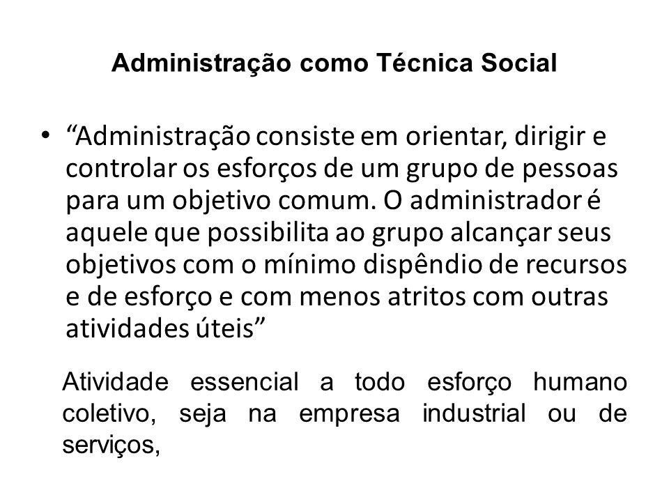 Administração como Técnica Social Administração consiste em orientar, dirigir e controlar os esforços de um grupo de pessoas para um objetivo comum. O