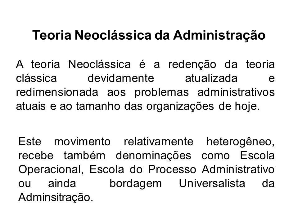 Teoria Neoclássica da Administração A teoria Neoclássica é a redenção da teoria clássica devidamente atualizada e redimensionada aos problemas adminis