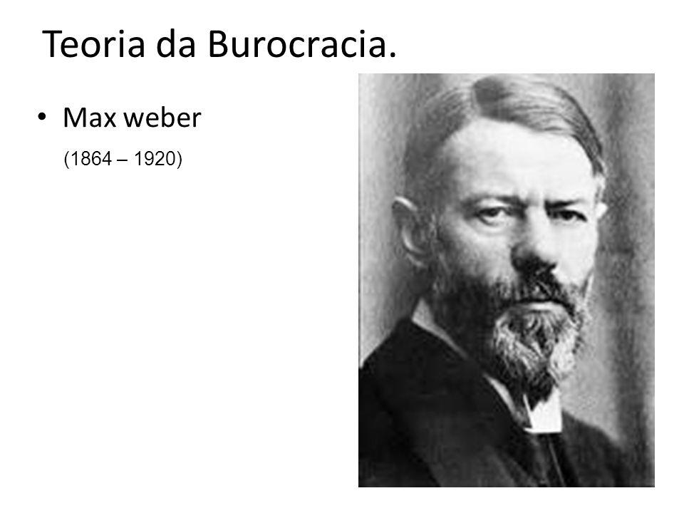 Teoria da Burocracia. Max weber (1864 – 1920)