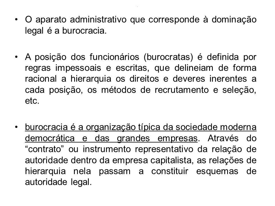 . O aparato administrativo que corresponde à dominação legal é a burocracia. A posição dos funcionários (burocratas) é definida por regras impessoais