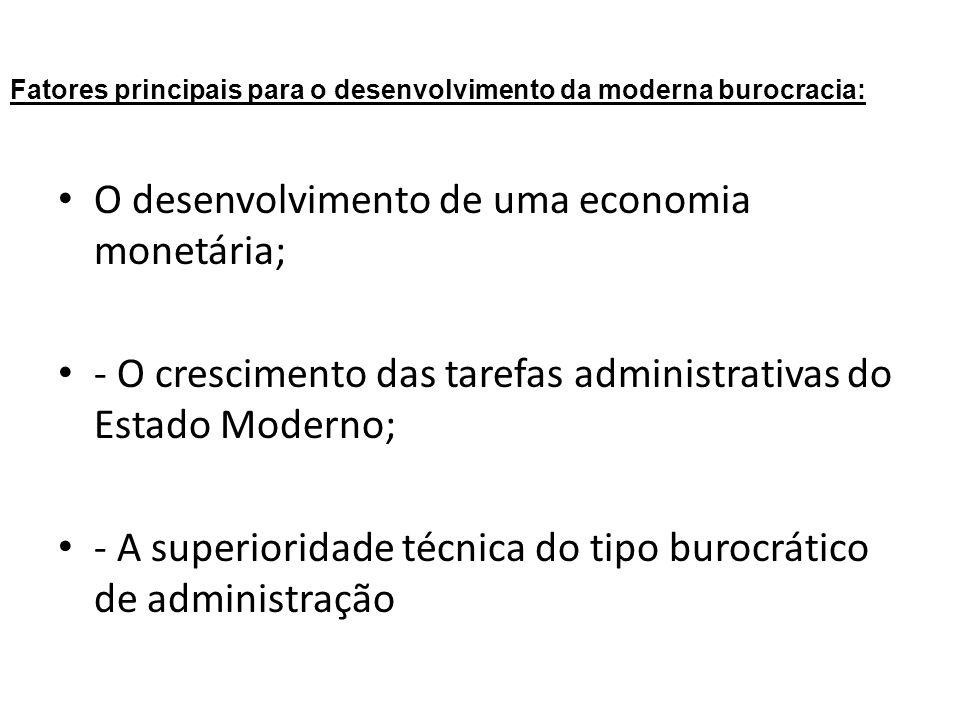 Fatores principais para o desenvolvimento da moderna burocracia: O desenvolvimento de uma economia monetária; - O crescimento das tarefas administrati
