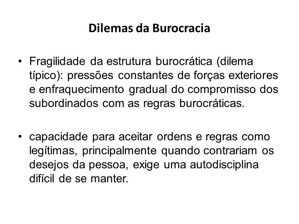 Dilemas da Burocracia Fragilidade da estrutura burocrática (dilema típico): pressões constantes de forças exteriores e enfraquecimento gradual do comp