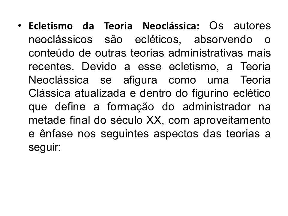 . Ecletismo da Teoria Neoclássica: Os autores neoclássicos são ecléticos, absorvendo o conteúdo de outras teorias administrativas mais recentes. Devid