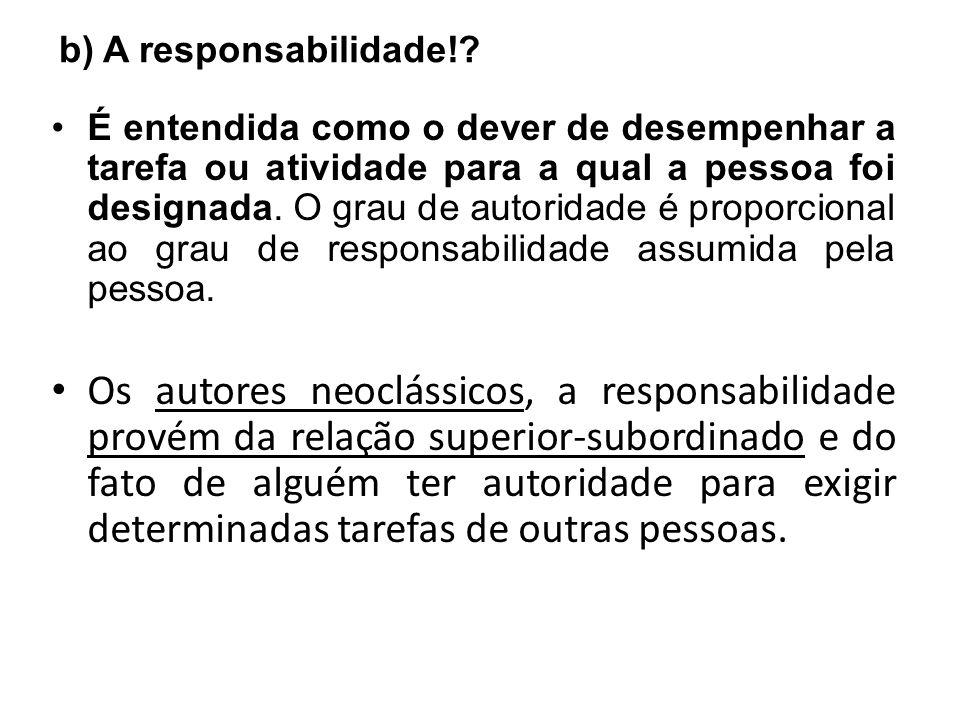 b) A responsabilidade!? É entendida como o dever de desempenhar a tarefa ou atividade para a qual a pessoa foi designada. O grau de autoridade é propo