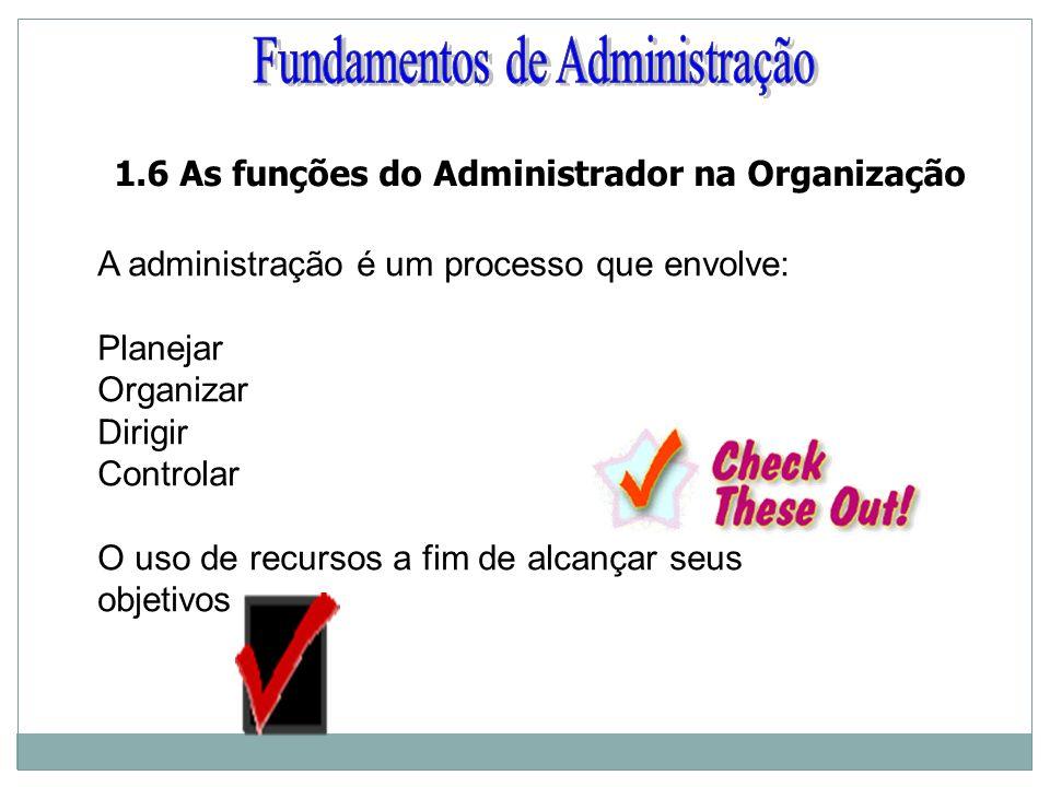 A administração é um processo que envolve: Planejar Organizar Dirigir Controlar O uso de recursos a fim de alcançar seus objetivos