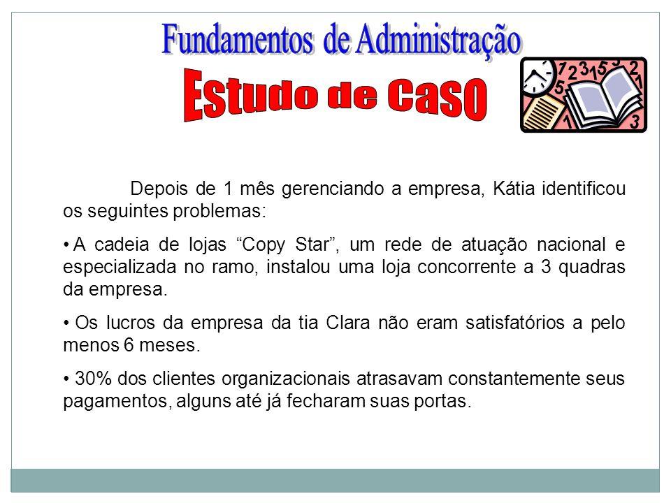 Depois de 1 mês gerenciando a empresa, Kátia identificou os seguintes problemas: A cadeia de lojas Copy Star, um rede de atuação nacional e especializ